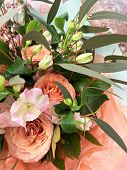 Spring Bouquet Of Mixed Colorful Flowers. Flowers Bouquet Including Orange Rose, White Eustoma. Beau poster