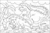 Black And White Page For Coloring. Fantasy Drawing Of Two Funny Dinosaurs. Worksheet For Children An poster