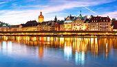 Luzern Kapelbrucke And Riverfront Architecture Famous Swiss Landmarks Panoramic View, Famous Landmar poster