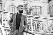 Casual And Comfortable Outfit For Autumn Date. Man Bearded Hipster Stylish Appearance Waiting Someon poster