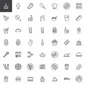 Restaurant Food Line Icons Set. Linear Style Symbols Collection, Outline Signs Pack. Vector Graphics poster