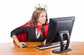 image of superwoman  - Superwoman worker with crown working in office - JPG