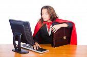 stock photo of superwoman  - Superwoman worker working in office - JPG