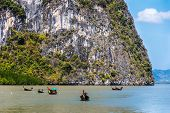 pic of james bond island  - Traditional Thai Boats In James Bond Islands  - JPG
