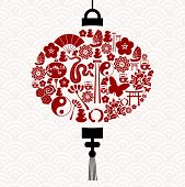 foto of chinese new year 2013  - Chinese New Year of the Snake icon set lamp composition background - JPG
