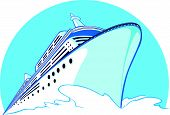 stock photo of passenger ship  - A vector image of a cruise ship sailing - JPG
