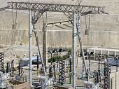 stock photo of aswan dam  - energy theme showing a generating plant in Aswan  - JPG