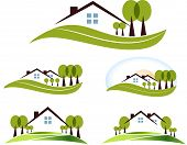 stock photo of roofs  - Abstract house and trees illustration collection - JPG
