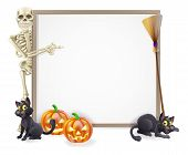 image of halloween characters  - Halloween sign or banner with orange Halloween pumpkins and black witch - JPG