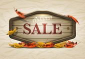 Vector realistic illustration of autumn sale wooden signboard. Elements are layered separately in ve