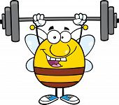 Happy Pudgy Bee Cartoon Mascot Character Lifting Weights