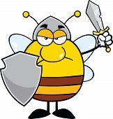 picture of shield-bug  - Angry Pudgy Bee Warrior With Shield And Sword Cartoon Character - JPG