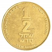 stock photo of shekel  - Half Israeli New Sheqel coin isolated on white background - JPG