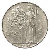 stock photo of lira  - 100 italian lira coin isolated on white background - JPG