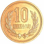 picture of japanese coin  - 10 japanese yens coin isolated on white background - JPG
