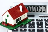 stock photo of calculator  - House and calculator - JPG