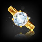 illustration of diamond embedded in gold ring