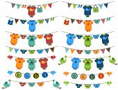 foto of stork  - Vector Set of Baby Boy Themed Clotheslines with Storks and Birds - JPG