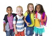 stock photo of ethnic group  - Elementary School Kids Group Isolated - JPG