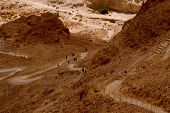 stock photo of jericho  - Looking down from the top of the Masada mountain in Israel - JPG