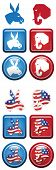 Republican and Democrat Icon Buttons