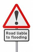 English road sing - Road liable to Flooding