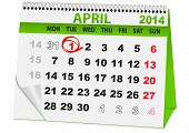image of fool  - icon in the form of a calendar for the day fool - JPG