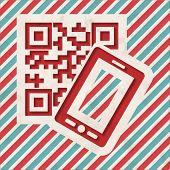 QR Code with Smartphone on Striped Background.