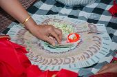 picture of dowry  - engaged bride groom take the money brought by the relatives of both parties agreed - JPG