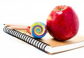 Back To School Supplies With Notebook And Pencil On White  Background. Schoolchild And Student Studi