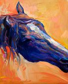 pic of paint horse  - Original abstract oil painting of a beautiful blue horse - JPG