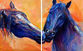 foto of breed horse  - Original abstract oil painting of beautiful blue horses - JPG