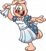image of goodbye  - Cartoon female pig waving goodbye - JPG