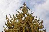 image of apex  - Golden Gable Apex In Wat Rong Khun  - JPG