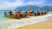 Thai boat at Long Beach. Phi Phi island.