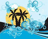 stock photo of beach party  - Swirling wave design with palm trees and sea - JPG