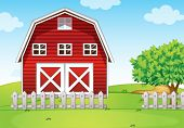 stock photo of hilltop  - Illustration of a barnhouse at the hilltop - JPG