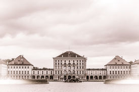 picture of munich residence  - Retro Postcard Style European Palace In Munich Germany - JPG