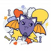 foto of kawaii  - Halloween kawaii print or card with cute doodle bat - JPG