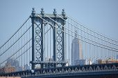 foto of empire state building  - View of the Manhattan Bridge with the Empire State Building in the background - JPG