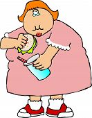 stock photo of fat woman  - This illustration depicts a fat girl with a sandwich and drink - JPG