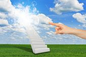 stock photo of stairway to heaven  - Finger indicates stairway to heaven with clouds and sun - JPG