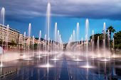 stock photo of fountain grass  - The Beautiful fountain in the city centre of Nice