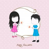 stock photo of dussehra  - Illustration of two small girls celebrating Dussehra festival by playing with crackers on a dotted pink background with a frame with blank space - JPG