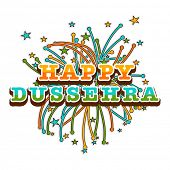 stock photo of dussehra  - Beautiful poster of dussehra wishes with colourful stars and crackers - JPG