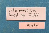 stock photo of interpreter  - famous ancient Greek philosopher Plato quote interpretation with sticky notes on vintage carton board about life living - JPG