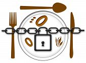 foto of food chain  - Chain locked over food plate with fork - JPG