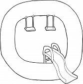 image of swingset  - Black outline of letter Q over white background - JPG