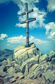 image of cross hill  - Cross on the hill Dumbier at Low tatras mountains Slovakia - JPG