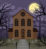pic of moonlit  - Illustration depicting a scene of a spooky house on a foggy moonlit night - JPG